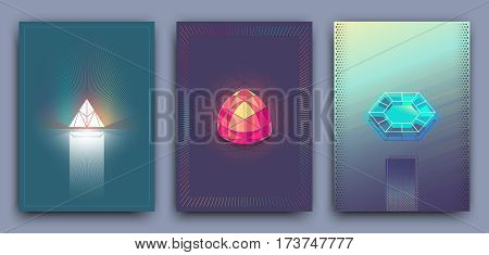 Retro trendy vector hipster posters 3d card with crystals abstract geometric shapes. Set vector templates for covers posters postcard flyer leaflets. Vector illustration.