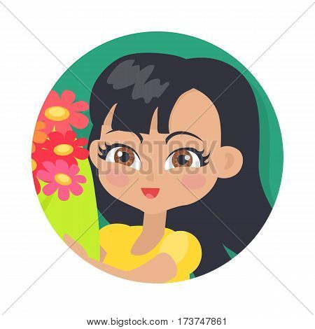 Smiling girl with black long hair with colourful bouquet of flowers. Portrait of nice female person in yellow blouse. Hazel eyes. Cartoon style. Kindergarten lady avatar userpic. Flat design. Vector