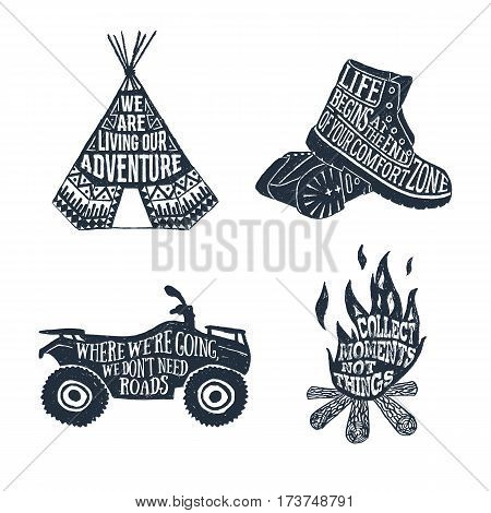 Hand drawn textured vintage labels set with teepee boots quad bike and bonfire vector illustrations and lettering.
