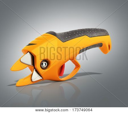 Garden Pruner 3D Render On Grey Background