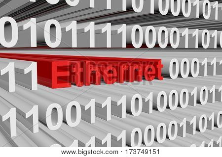 ethernet as a binary code 3D illustration