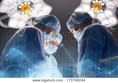 surgery, healthcare, medicine and people concept - group of surgeons at operation in operating room at hospital with virtual diagram projection