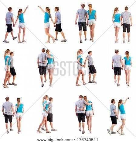 Collection Back view of going young couple . walking beautiful friendly girl and guy in shorts together. Rear view people collection. Set backside view of person . Isolated over white background.