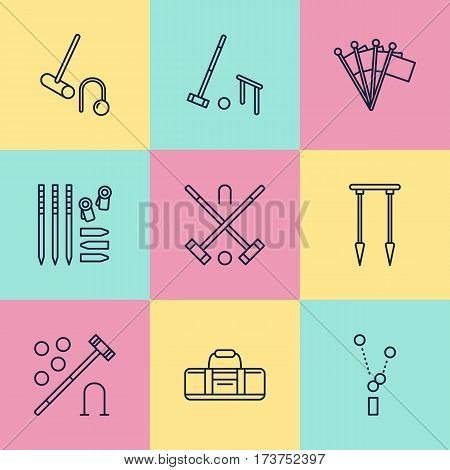 Croquet sport game vector line icons. Ball, mallets, hoops, pegs, corner flags. Garden, lawn activities signs set, championship pictograms with editable stroke for club, equipment store.