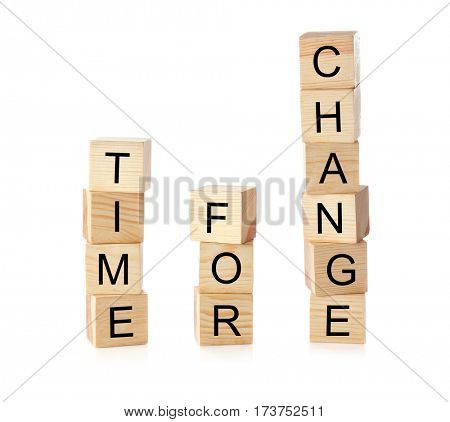 Wooden cubes with space for text on white background