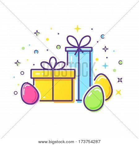 Vector line style logo with gift boxes and easter eggs. Easy to use business template. Cute illustration of gift box present, greeting, surprise.