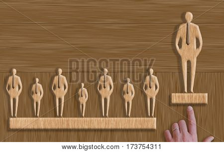 a concept of successful leader in wood texture