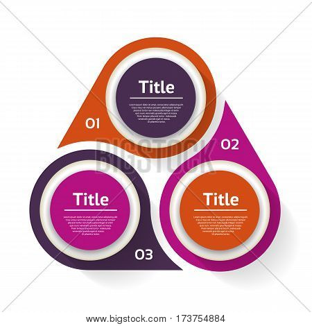 Vector circle infographic. Template for diagram graph presentation and chart. Business concept with three options parts steps or processes. Abstract background.