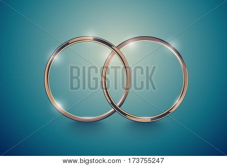 Abstract luxury golden ring. Vector light vintage effect background. Round frame on deep volume turquoise. Space for your wedding message design.