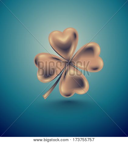 Golden clover leaf vector illustration for St. Patrick day. Isolated four-leaf on turquoise background. Jewelry 3d retro design.