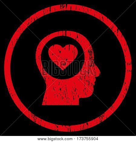 Love Thinking Head grainy textured icon for overlay watermark stamps. Rounded flat vector symbol with unclean texture. Circled red ink rubber seal stamp with grunge design on a black background.