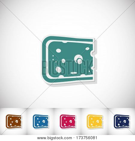 Cheese. Flat sticker with shadow on white background. Vector illustration