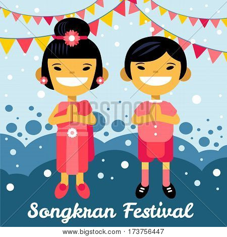 thai boy and girl in Songkran festival. Thailand, Asian children, cartoon characters in traditional costume. Vector illustration flat design