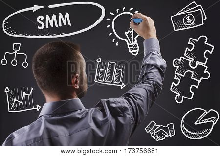 Technology, Internet, Business And Marketing. Young Business Man Writing Word: Smm