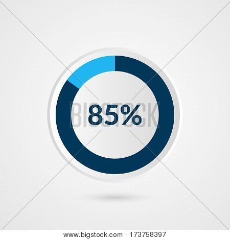 85 percent blue grey and white pie chart. Percentage vector infographics. Circle diagram business illustration