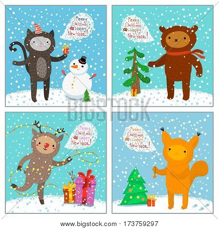 Holiday illustration with a cute cat, squirrel, bear, deer. Christmas card with nice cartoon characters. Winter greeting card.