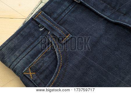 Rather Old Blue Jean Have Stripe And Pocket Side Textures