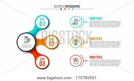 Business data visualization. Abstract flat elements of diagram with 3 steps, options, parts or processes. Vector business template for presentation. Creative concept for infographic. Process chart.