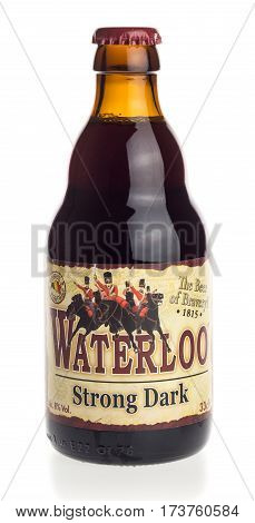GRONINGEN, NETHERLANDS - FEBRUARY 24, 2017: Bottle of Waterloo Strong Dark beer isolated on a white background