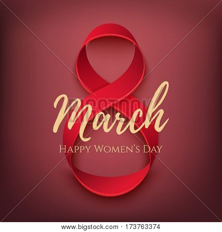 Greeting card for International Womens Day, 8 March. Poster, brochure or invitation template. Vector illustration.
