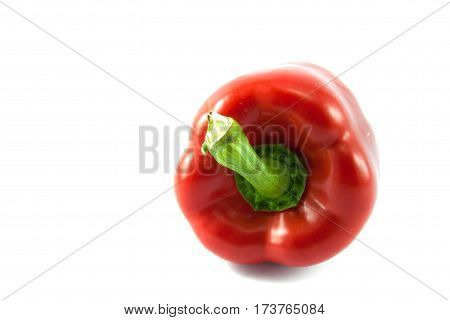 The red bell pepper on the white background