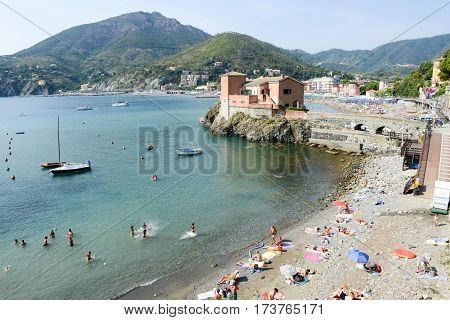 The Beach Of Levanto In Liguria, Italy