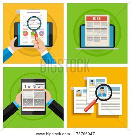 Concept of job searching set. Concept of searching professional staff. Newspaper on screen. Flat design, vector illustration.