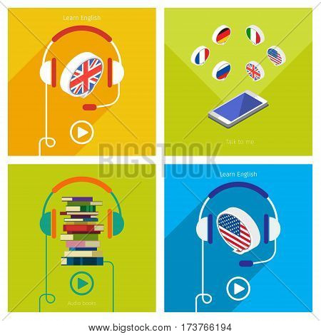 Concept of audio english book or studying English set. Headphones with speech bubble, vector illustration, flat design.
