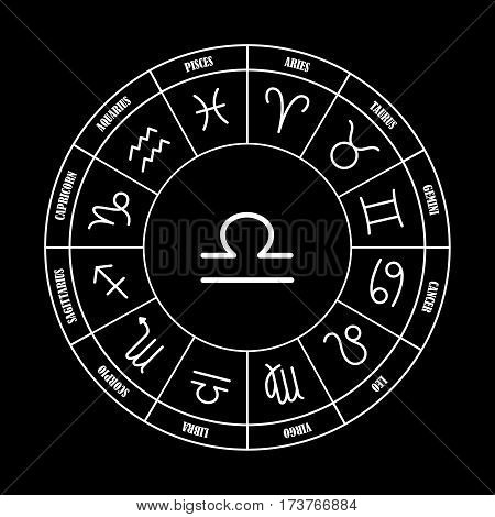Libra astrology sing in zodiac circle on the black background set of astrology sings