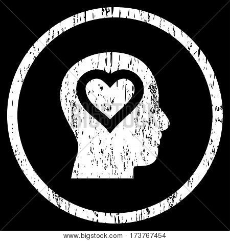 Love In Head grainy textured icon for overlay watermark stamps. Rounded flat vector symbol with dust texture. Circled white ink rubber seal stamp with grunge design on a black background.