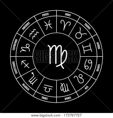 Virgo astrology sing in zodiac circle on the black background set of astrology sings