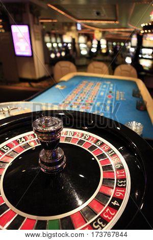 Roulette wheel in casino in Reno, USA