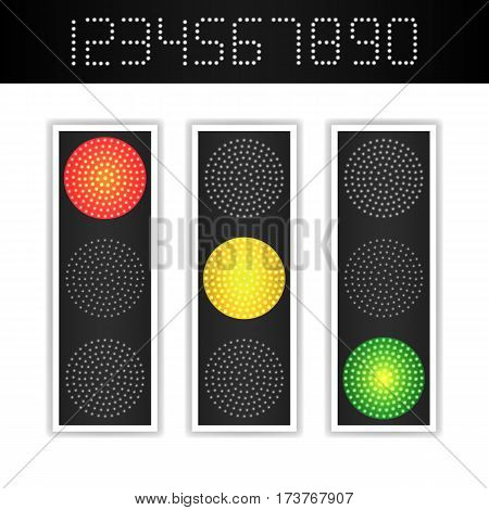 Road Traffic Light Vector. Realistic LED Panel With Time. Sequence Lights Red, Yellow, Green. Go, Wait, Stop Signals. Isolated On White