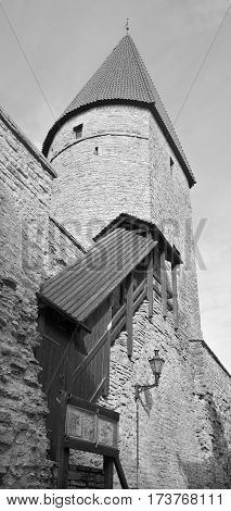 TALLINN, ESTONIA -SEPTEMBER 18, 2015: Tower of Toompea Castle (Domberg) or Cathedral Hill, of Tallinn, Estonia. It's part of the UNESCO World Heritage site