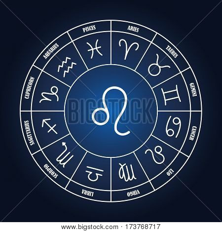 Leo astrology sing in zodiac circle on the dark blue background set of astrology sings