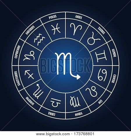 Scorpio astrology sing in zodiac circle on the dark blue background set of astrology sings