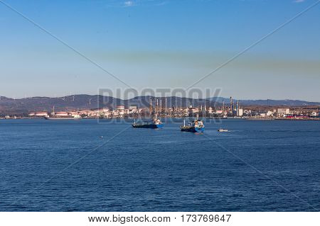 Two Blue Freighters anchored in Gibralter UK