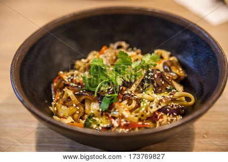 Classic Japanese udon noodles with teriyaki sauce and vegetables
