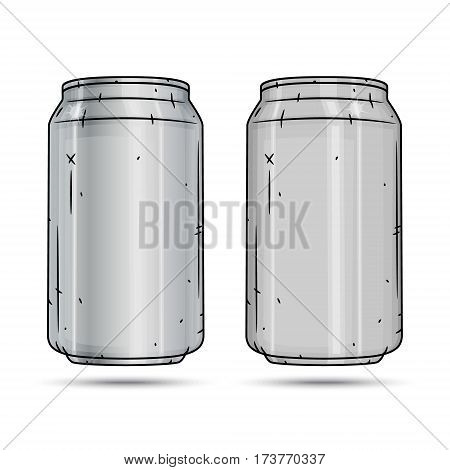 Two Aluminum cans isolated on white background
