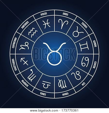 Taurus astrology sing in zodiac circle on the dark blue background set of astrology sings