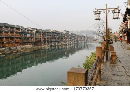 Fenghuang Ancient Town. Located in Fenghuang County. Southwest of HuNan Province China.