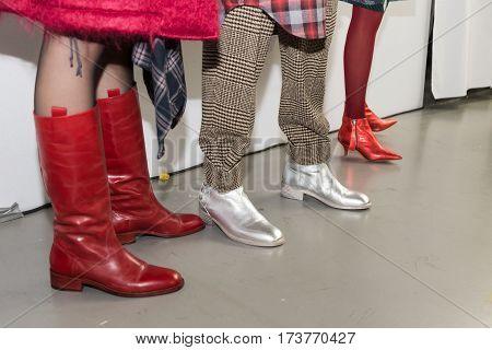 MILAN ITALY - FEBRUARY 22: Detail of shoes in the backstage just before Wunderkind show during Milan Women's Fashion Week on FEBRUARY 22 2017 in Milan.