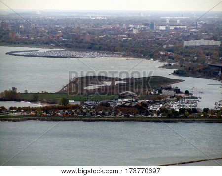 Aerial view of Northerly Island and harbor, Chicago, Illinois