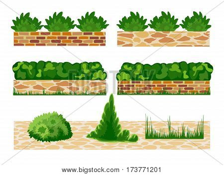 Set of elements for landscape designing. Different options of masonry and garden plants.  Vector illustration. Horizontal  location. Landscaping design.