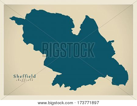 Modern City Map - Sheffield England Illustration