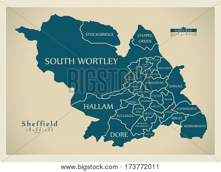 Modern City Map - Sheffield With Labelled Wards Illustration