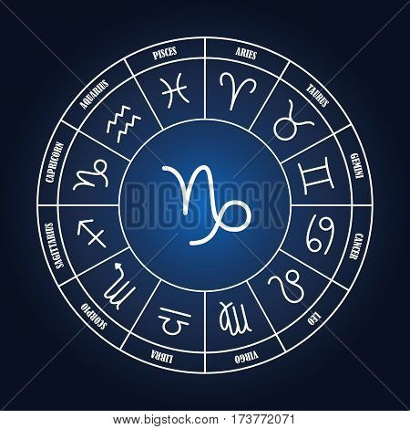 Capricorn astrology sing in zodiac circle on the dark blue background set of astrology sings
