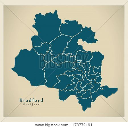 Modern City Map - Bradford With Boroughs Illustration