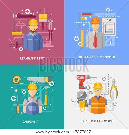 Development and design concept of construction works 4 flat icons square composition banner abstract isolated vector illustration