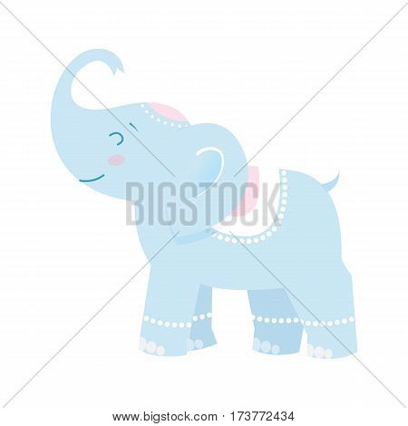 Funny elephant Design element for baby shower card, scrapbooking, invitation, children goods and childish accessories. Isolated on white background. Vector illusrtation